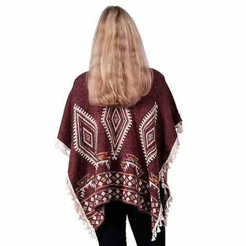 Ladies Fashion Ruana Knit Cape - FP60450-BB