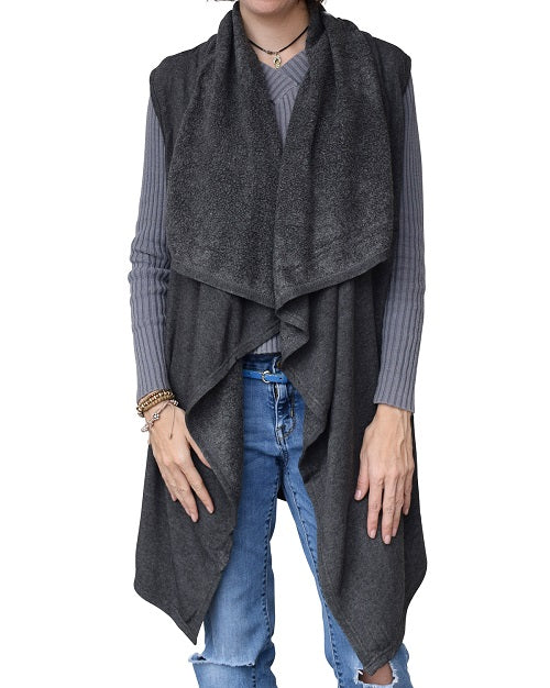 Womens Heather Flows Vest - Charcoal at Linda Anderson