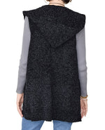 Load image into Gallery viewer, Pocket Hoodie Chenille Vest Black at Linda Anderson