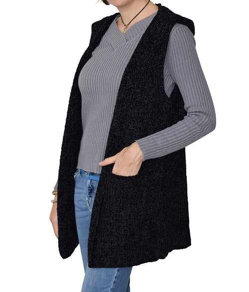 Pocket Hoodie Chenille Vest Black at Linda Anderson