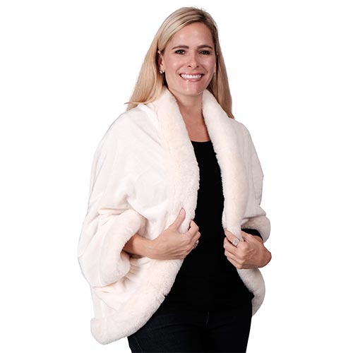 Le Moda Women's Polyester Fur Shawl Coat-One Size at Linda Anderson