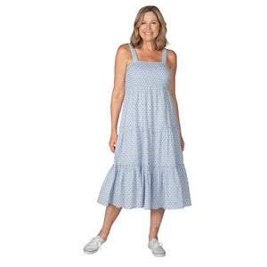 Blue Dobby Smocked Tiered Sun Dress