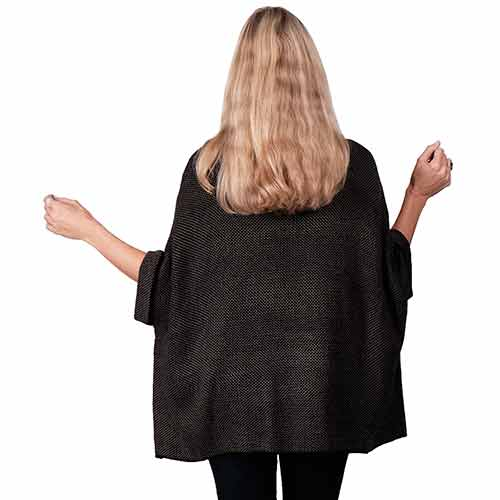 Le Moda Ladies Ruana Knit Cape - Black at Linda Anderson