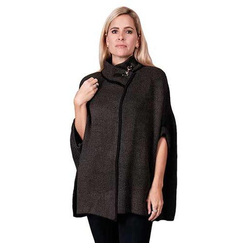 Le Moda Ladies Ruana Knit Cape - Black
