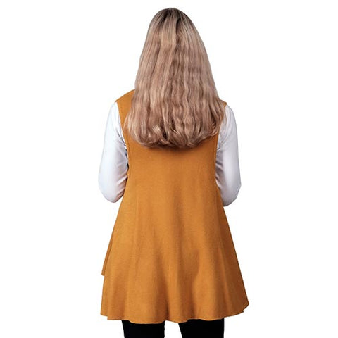 Ladies Mustard Ruana Knit Vest