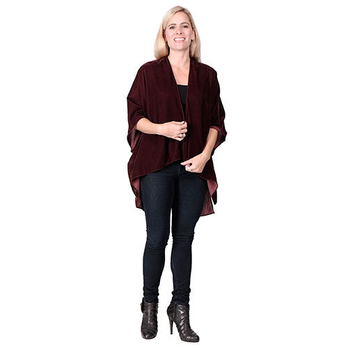 Ladies Wine Ruana Kit Cape Velvet at Linda Anderson