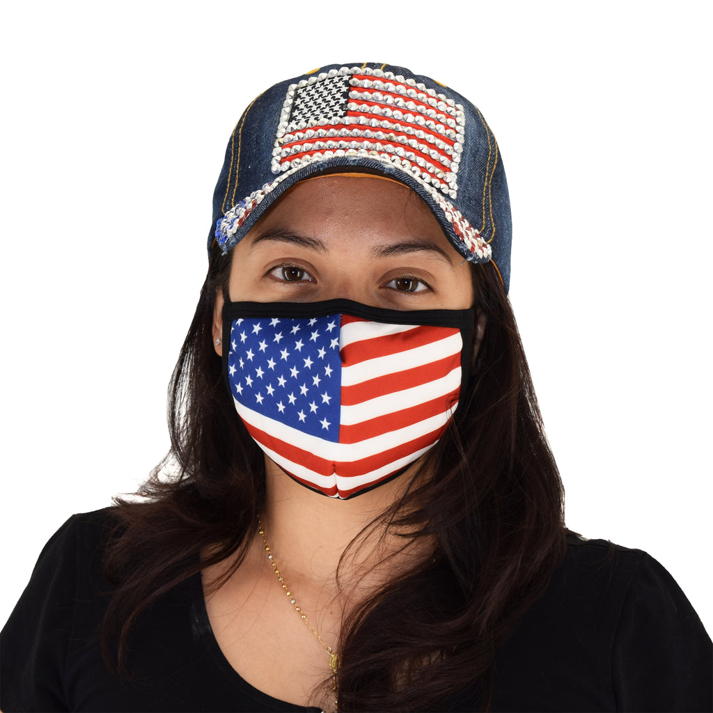 Cloth Face Covering with American Flag