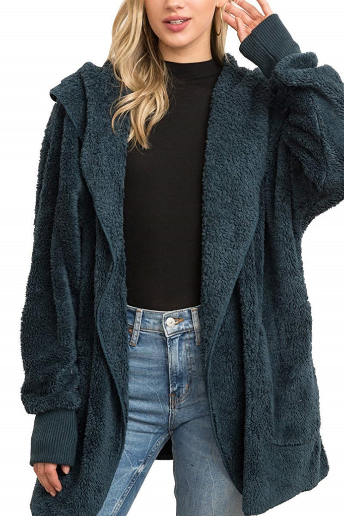 Le Moda Both Side Fur Open Jacket with Pockets - Teal