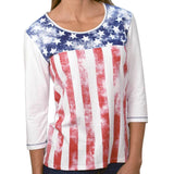 Ladies' 3/4 Sleeve Stars & Stripes Printed Knit Shirt
