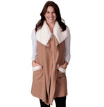 Load image into Gallery viewer, Le Moda Women's Sherpa Trimmed Fleece Vest at Linda Anderson. color_camel