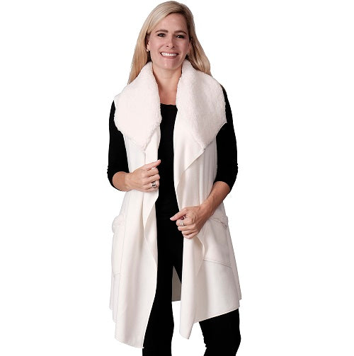 Le Moda Women's Sherpa Trimmed Fleece Vest at Linda Anderson. color_white