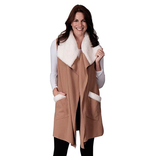 Le Moda Women's Sherpa Trimmed Fleece Vest at Linda Anderson. color_camel