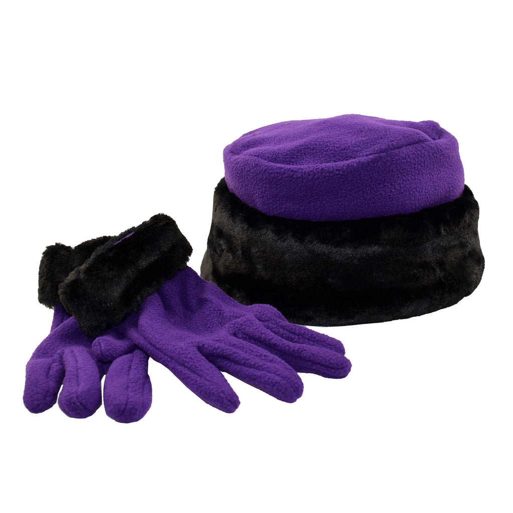 Le Moda Women's Faux Fur Trim Gloves and Hat Set at Linda Anderson