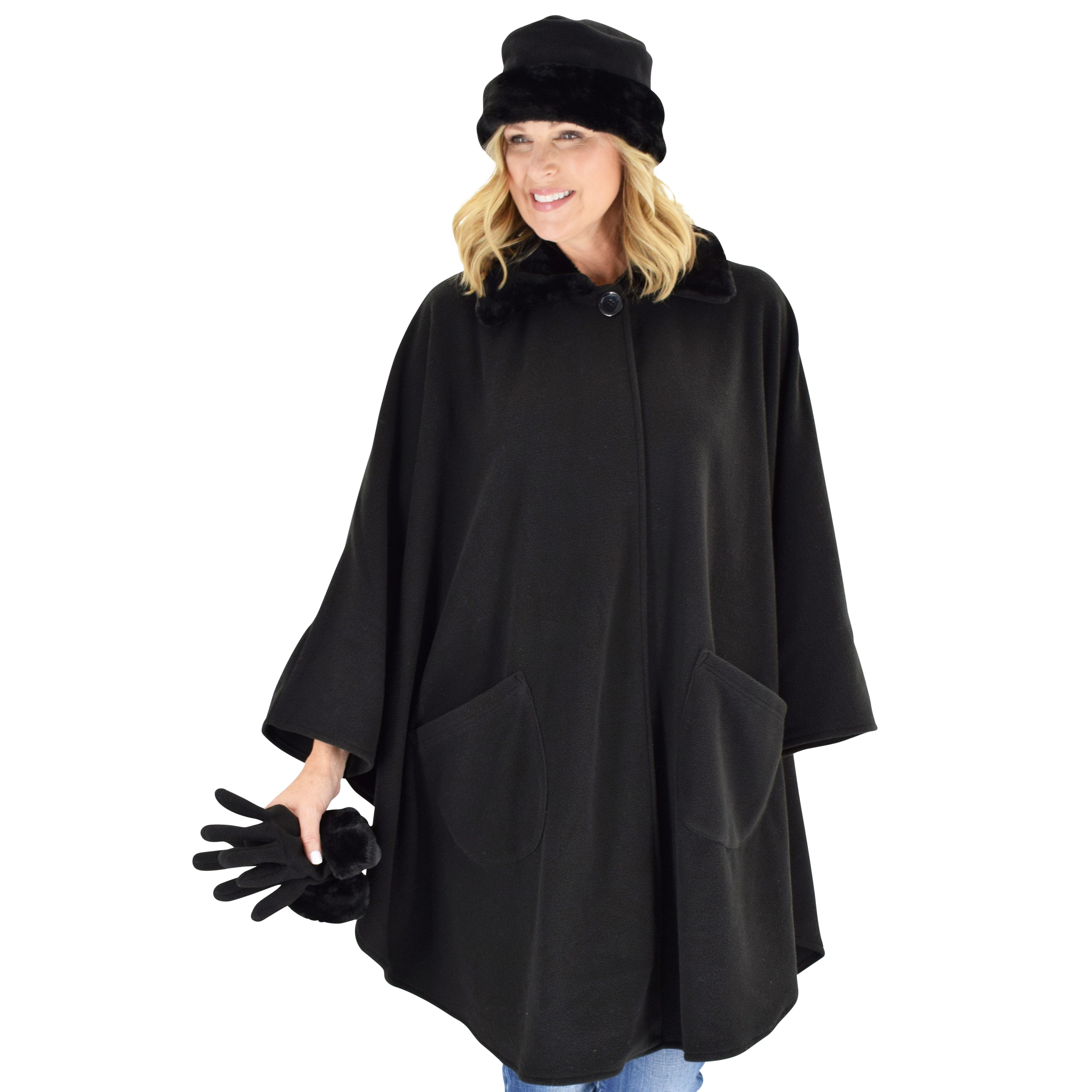 Le Moda Women's Black Fur Collar Polar Fleece Wrap with Matching Gloves and Hat-One Size Fits All at Linda Anderson. color_black