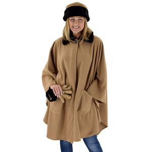Le Moda Women's Black Fur Collar Polar Fleece Wrap with Matching Gloves and Hat-One Size Fits All at Linda Anderson.  color_camel
