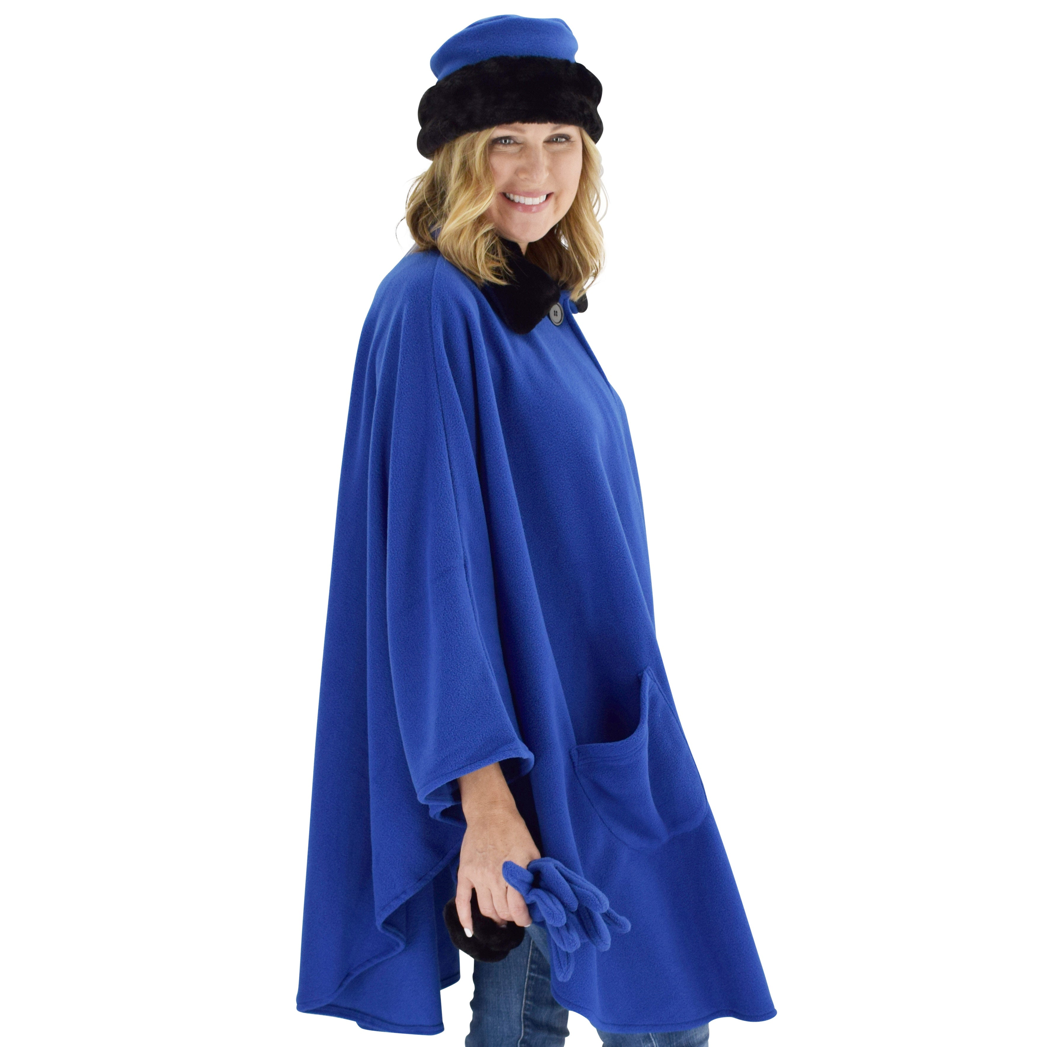 Le Moda Women's Black Fur Collar Polar Fleece Wrap with Matching Gloves and Hat-One Size Fits All at Linda Anderson. color_royal