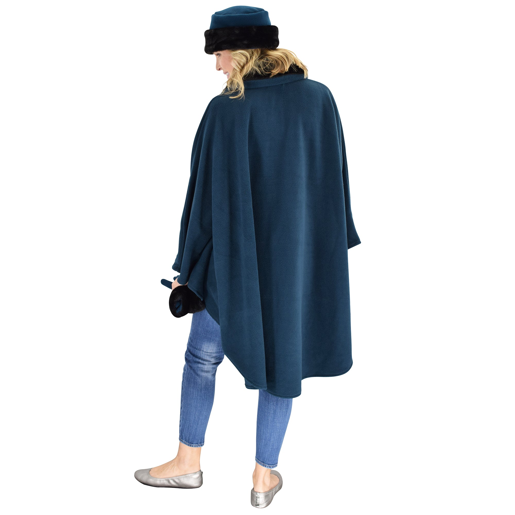 Le Moda Women's Black Fur Collar Polar Fleece Wrap with Matching Gloves and Hat-One Size Fits All at Linda Anderson.  color_teal