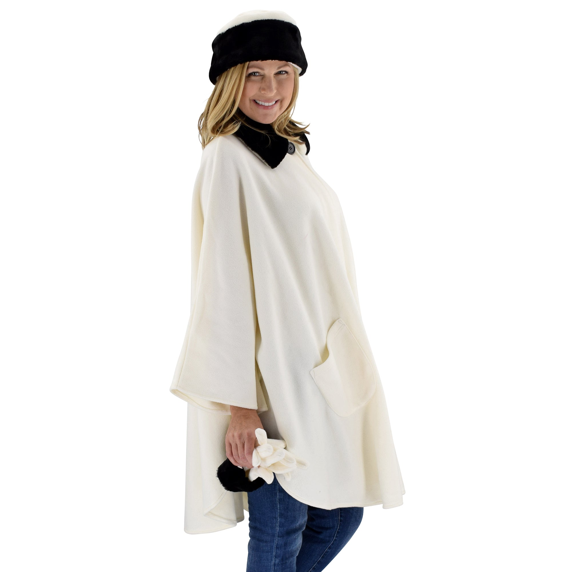 Le Moda Women's Black Fur Collar Polar Fleece Wrap with Matching Gloves and Hat-One Size Fits All at Linda Anderson. color_winter_white