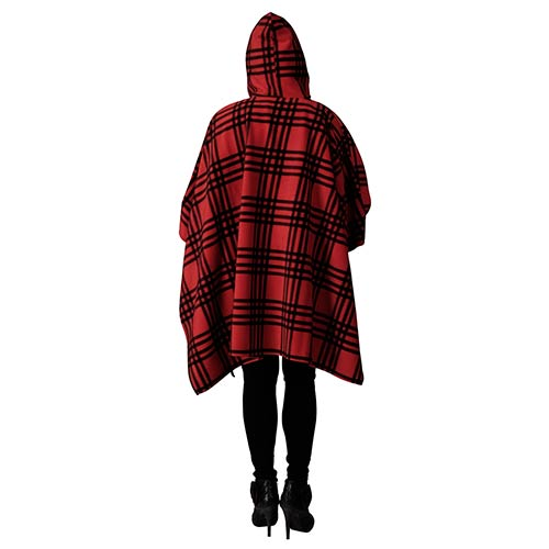 Printed Fleece Poncho with Hoodie Red/Blk at Linda Anderson