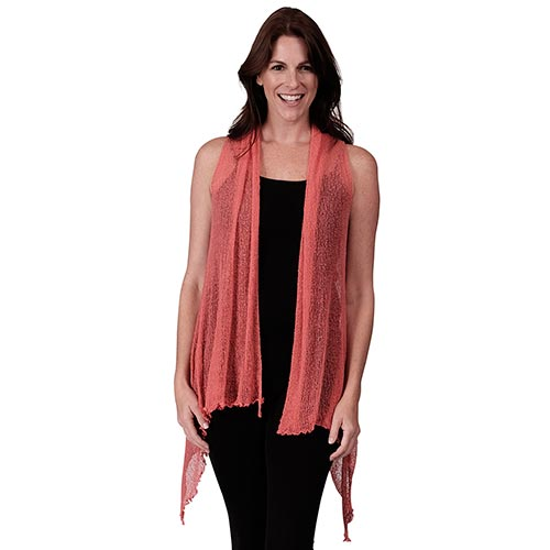 Le Moda Women's Sleeveless Sheer Open Stitch Vest Cardigan at Linda Anderson. color_coral