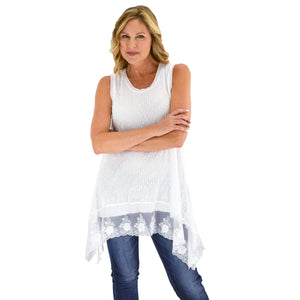 Womens Popcorn Knit Tank Tunic - White at Linda Anderson