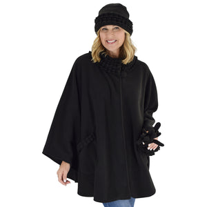 Le Moda Women's Ruffed collar Fleece Wrap with Matching Gloves and Hat - One Size Fits All at Linda Anderson. color_black