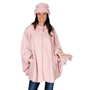 Le Moda Women's Ruffed collar Fleece Wrap with Matching Gloves and Hat - One Size Fits All at Linda Anderson. color_blush