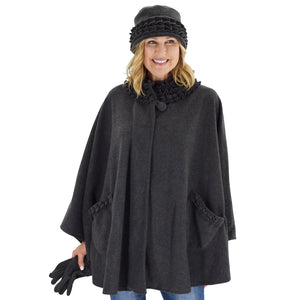 Le Moda Women's Ruffed collar Fleece Wrap with Matching Gloves and Hat - One Size Fits All at Linda Anderson. color_grey