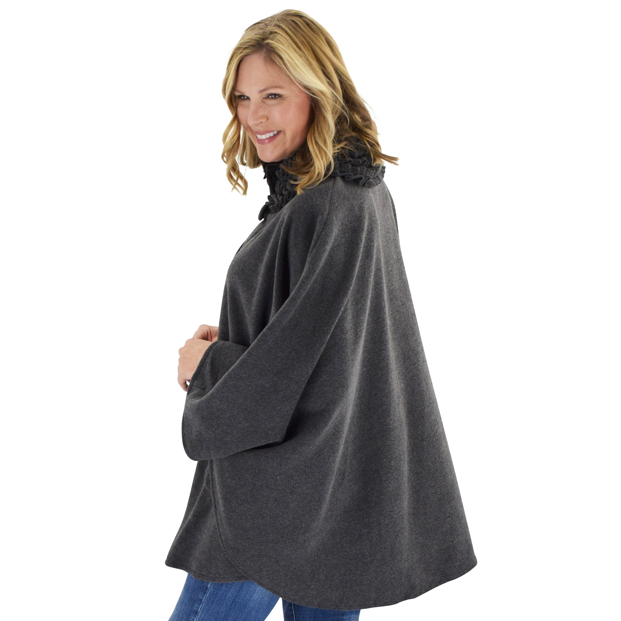 Le Moda Women's Ruffed collar Fleece Wrap with Matching Gloves and Hat - One Size Fits All at Linda Anderson. color_charcoal