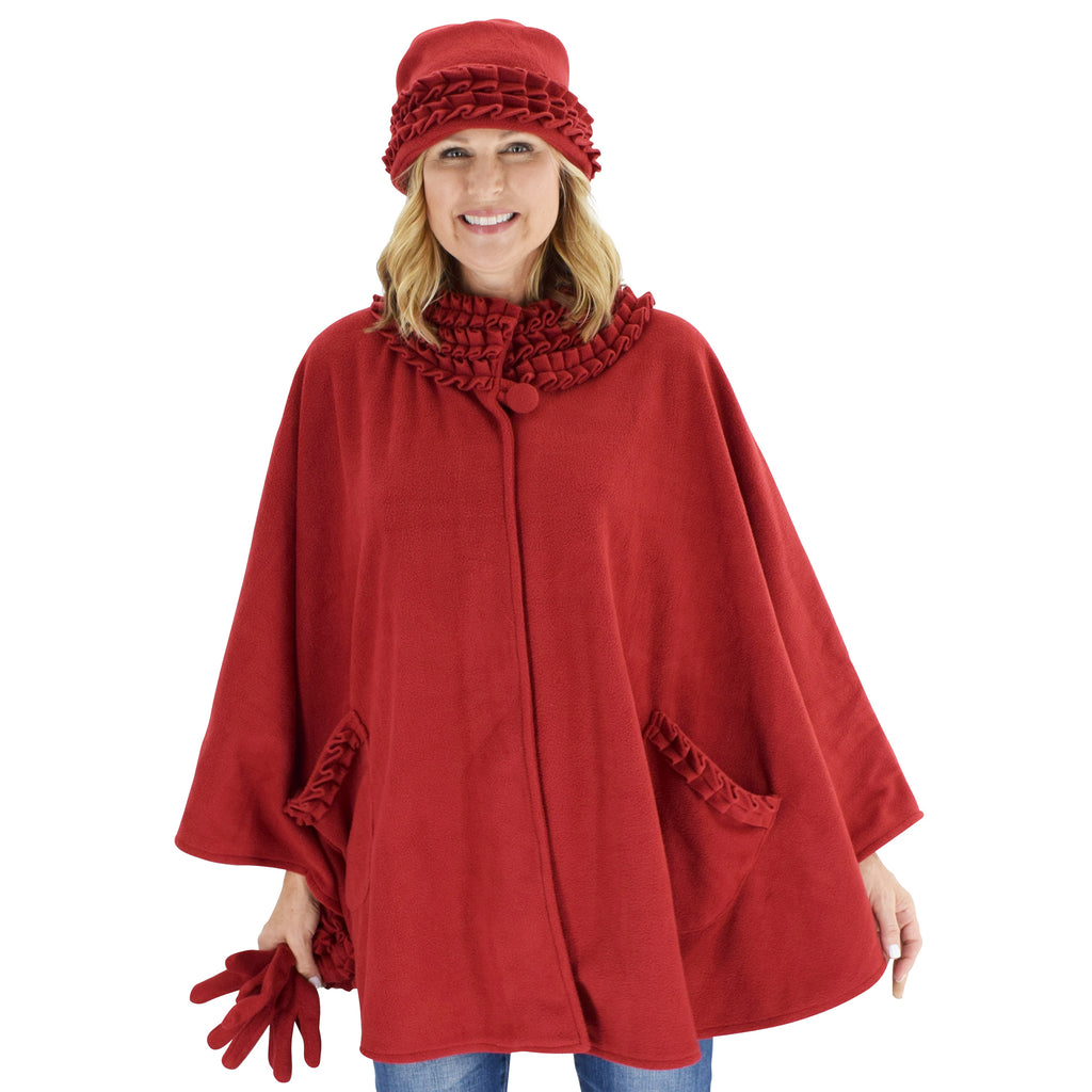 Le Moda Women's Ruffed collar Fleece Wrap with Matching Gloves and Hat - One Size Fits All at Linda Anderson. color_red