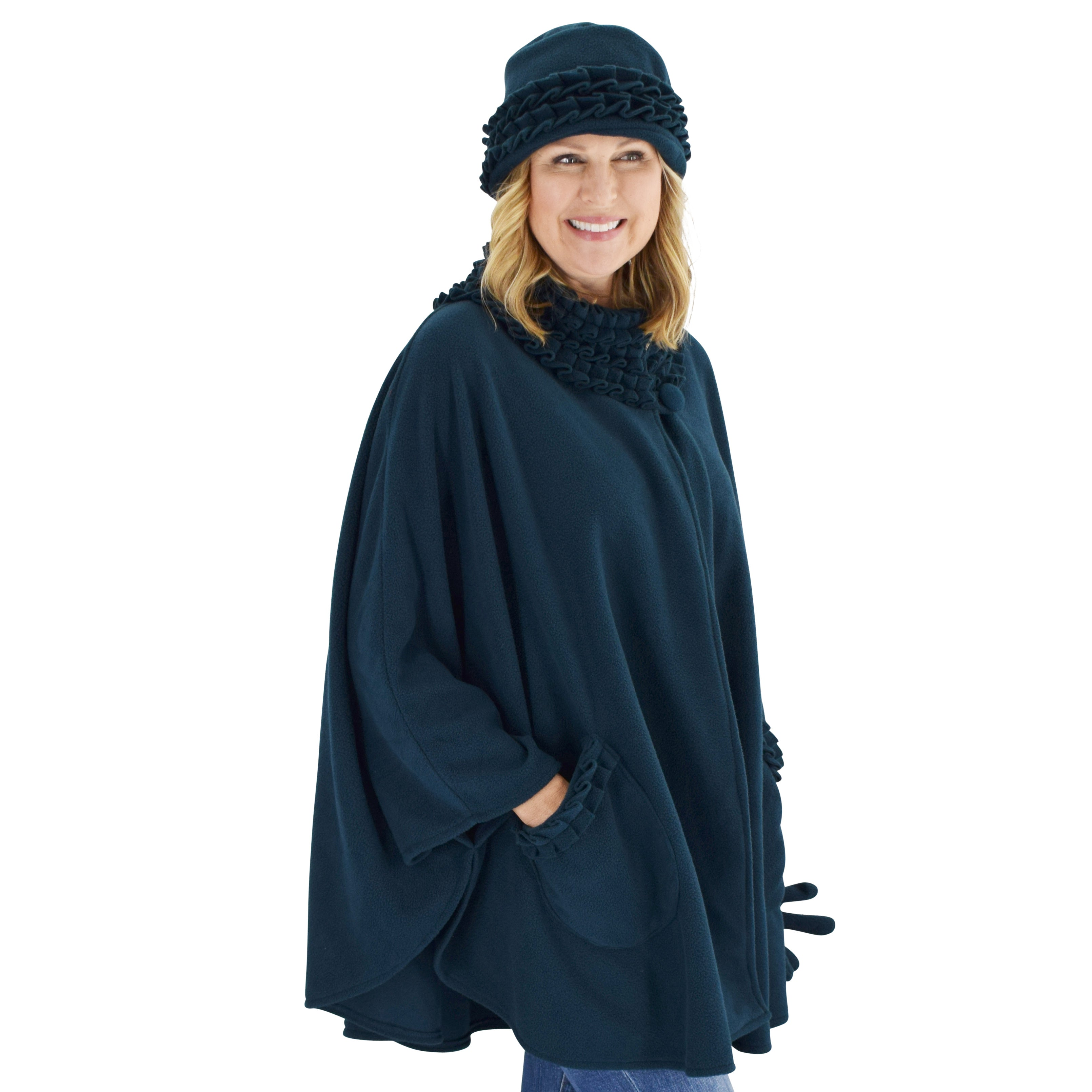 Le Moda Women's Ruffed collar Fleece Wrap with Matching Gloves and Hat - One Size Fits All at Linda Anderson. color_teal