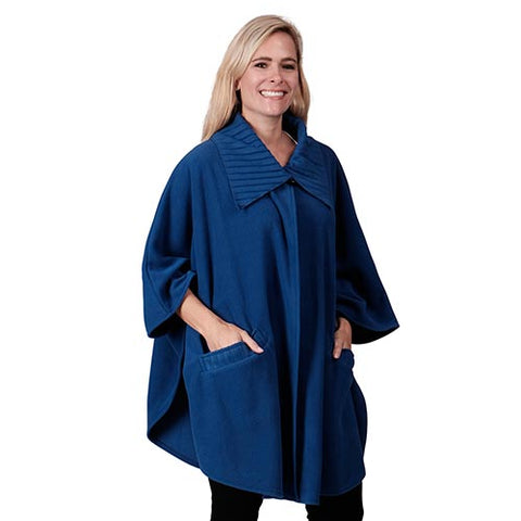 Fleece Wrap with Pleated Collar and Trim One Size Royal