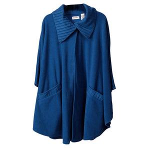 Fleece Wrap with Pleated Collar and Trim One Size Royal at Linda Anderson