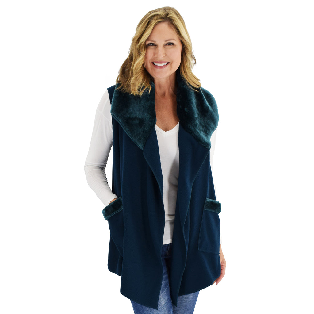 Le Moda Women's Trimmed Fleece Vest -  Fashionable Solid Color Long Fleece Vest for Women at Linda Anderson. color_dark_teal