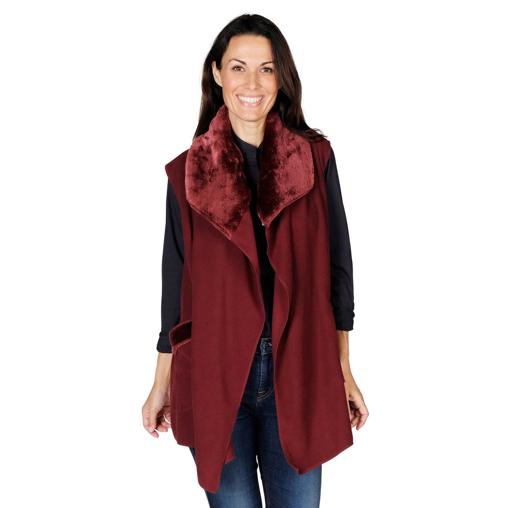 Le Moda Women's Trimmed Fleece Vest -  Fashionable Solid Color Long Fleece Vest for Women