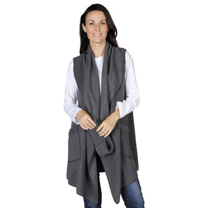 Le Moda Women's Pocketed Open Front Fleece Vest  Cardigan with Headband at Linda Anderson. color_charcoal