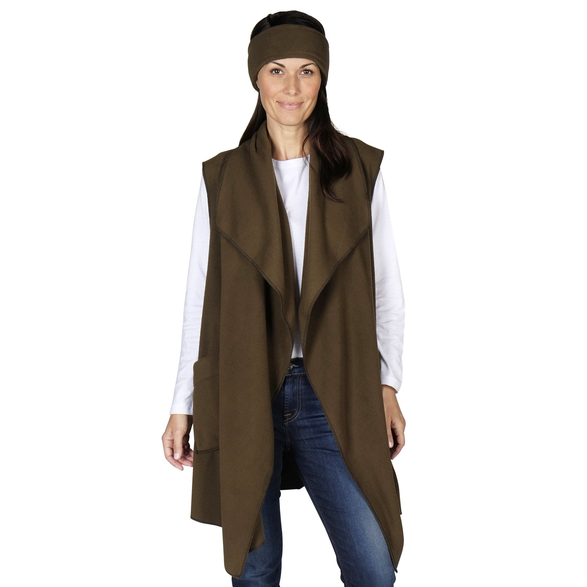 Le Moda Women's Pocketed Open Front Fleece Vest  Cardigan with Headband at Linda Anderson. color_olive