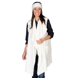 Le Moda Women's Pocketed Open Front Fleece Vest  Cardigan with Headband at Linda Anderson. color_white