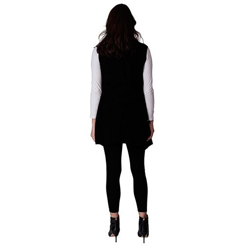 Le Moda Women's Pocketed Open Front Fleece Vest  Cardigan with Headband at Linda Anderson. color_black