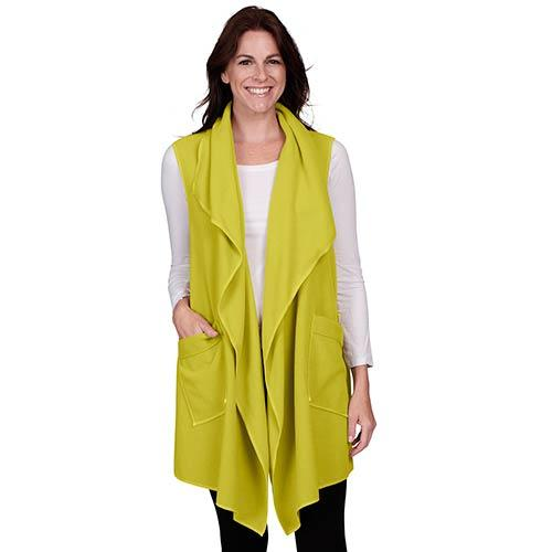 Le Moda Women's Pocketed Open Front Fleece Vest  Cardigan - Lime at Linda Anderson