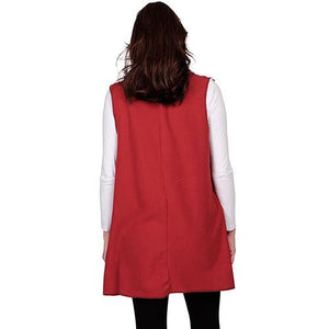 Le Moda Women's Pocketed Open Front Fleece Vest  Cardigan with Headband at Linda Anderson. color_red