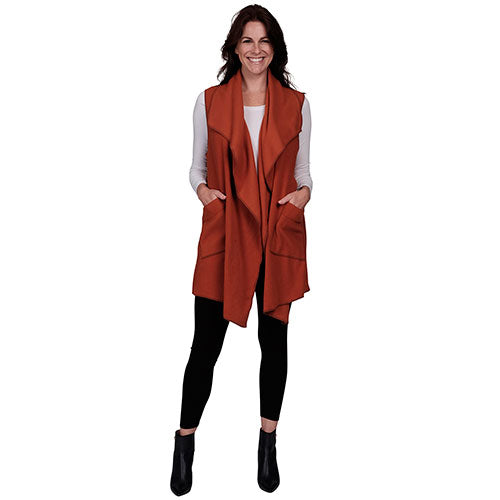 Le Moda Women's Pocketed Open Front Fleece Vest  Cardigan - Spice at Linda Anderson