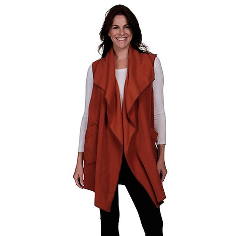 Le Moda Women's Pocketed Open Front Fleece Vest  Cardigan - Spice