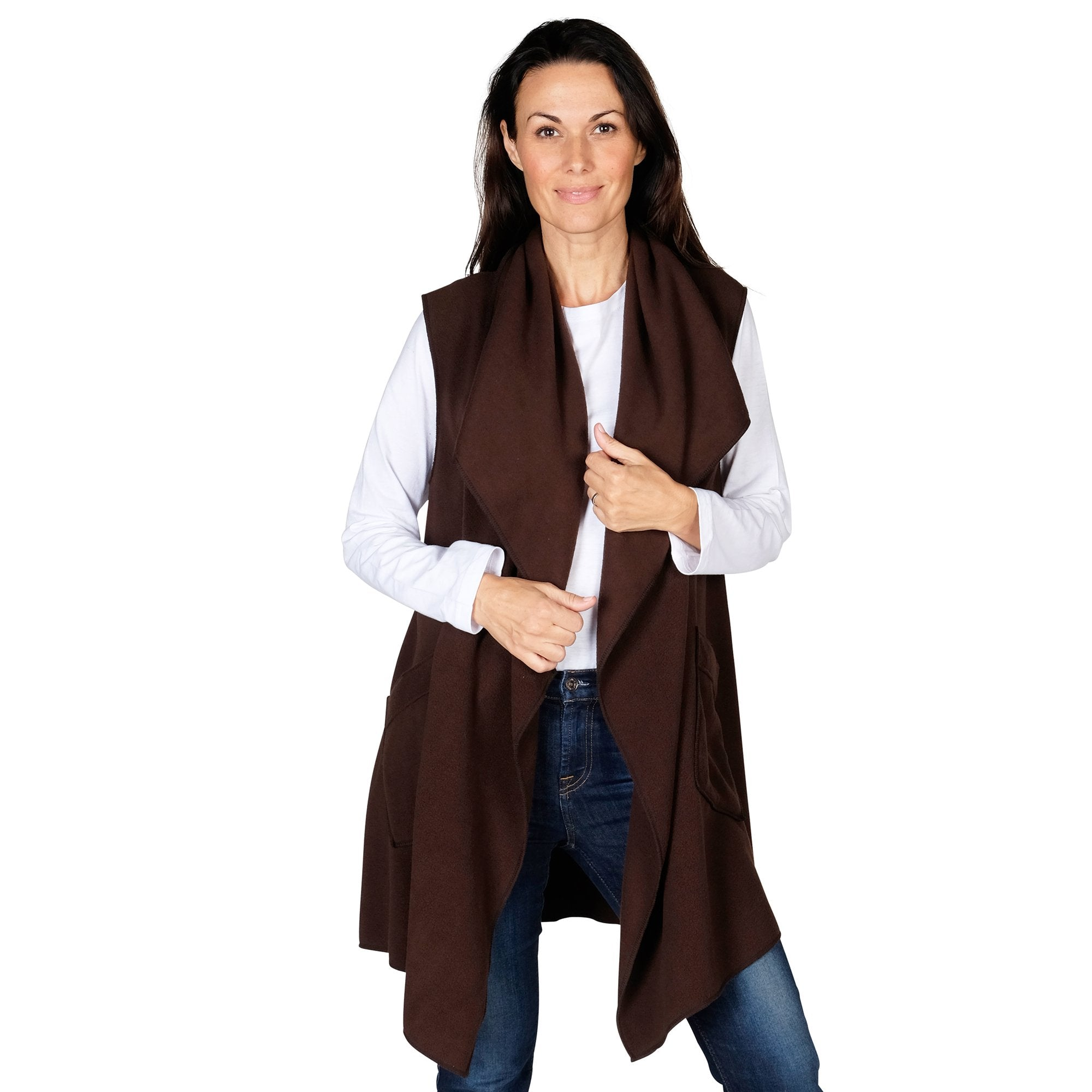 Le Moda Women's Pocketed Open Front Fleece Vest  Cardigan with Headband at Linda Anderson. color_chocolate