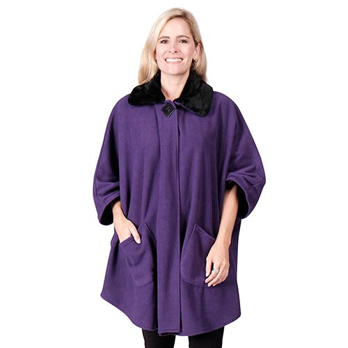 Fleece Wrap w/ Black Fur Collar One Size Purple at Linda Anderson