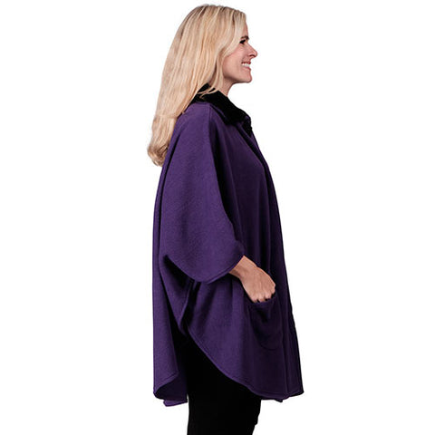 Fleece Wrap w/ Black Fur Collar One Size Purple
