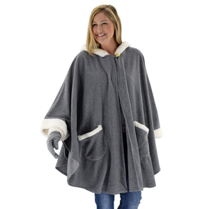 Le Moda Womens Hooded Cape with Natural Sherpa Trim with Matching Gloves at Linda Anderson. color_grey