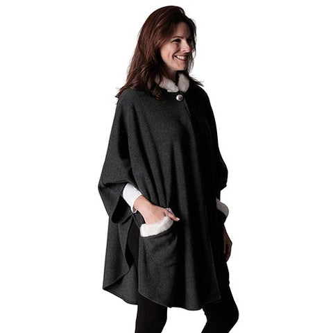 Le Moda Women's Hooded Cape with Natural Sherpa Trim