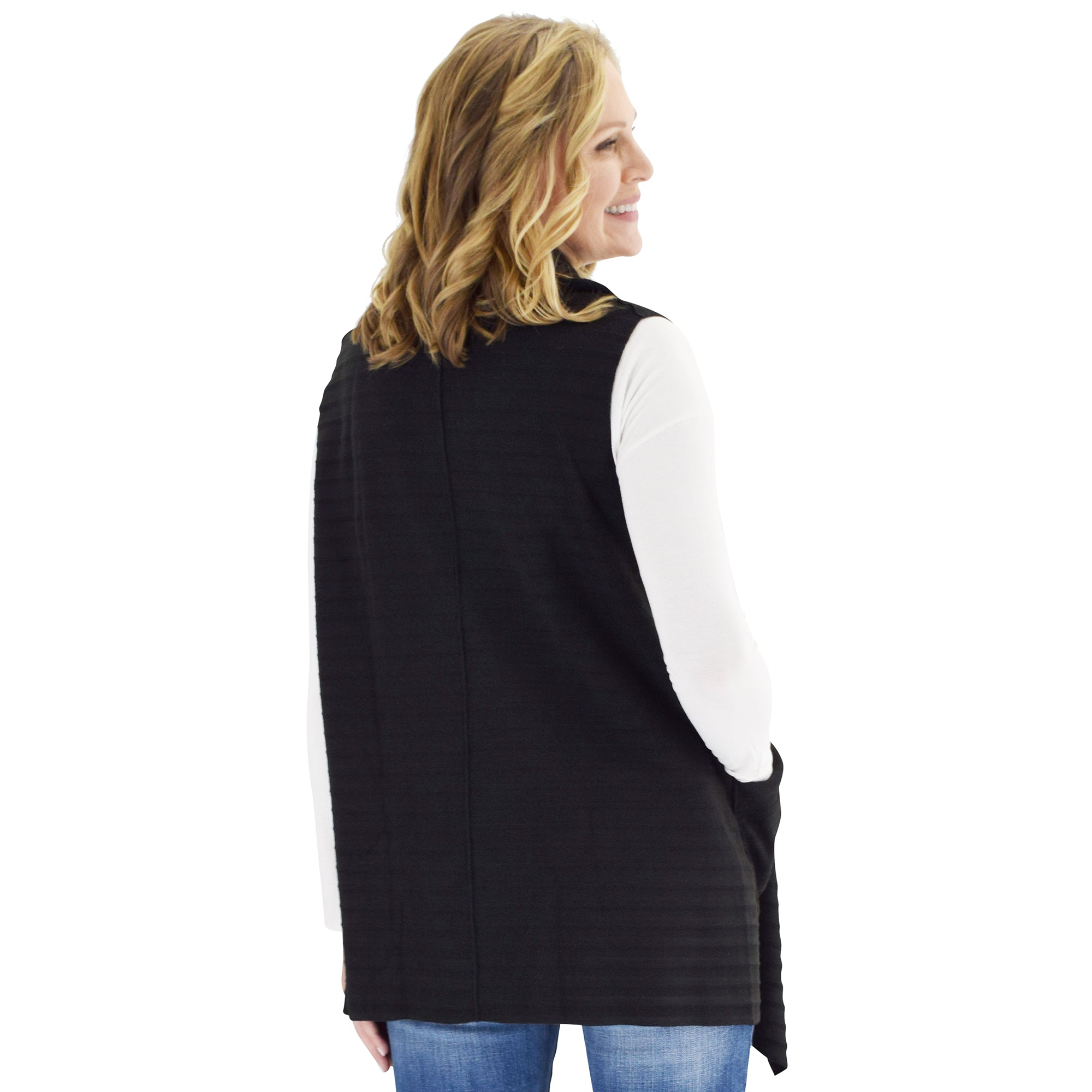 Le Moda Women's Sleeveless Pleated Open Front Fleece Vest Cardigan with Pockets at Linda Anderson. color_black