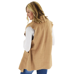 Le Moda Women's Sleeveless Pleated Open Front Fleece Vest Cardigan with Pockets at Linda Anderson. color_camel